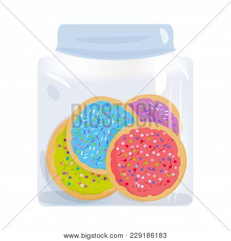 Frosted Sugar Cookies Homemade Italian Freshly Baked In Glass Jar With Pink Violet Blue Green Frosti