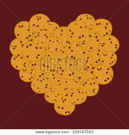 Heart Chocolate Chip Cookie Set, Freshly Baked Four Cookies Dark Brown Background. Bright Colors. Ve