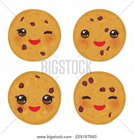 Kawaii Chocolate Chip Cookie Set Freshly Baked Isolated On White Background. Cute Face With Pink Che