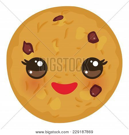 Kawaii Chocolate Chip Cookie Freshly Baked Isolated On White Background. Cute Face With Pink Cheeks