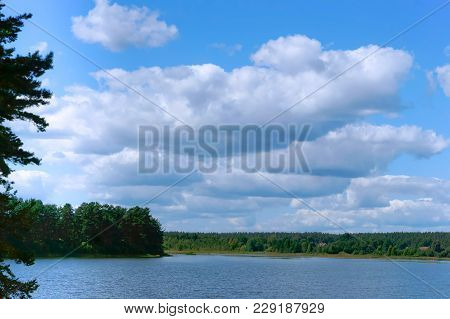 The Fishermen On The Boat, Lake Or Pond For Fishing, The Scenery Is Beautiful Pond