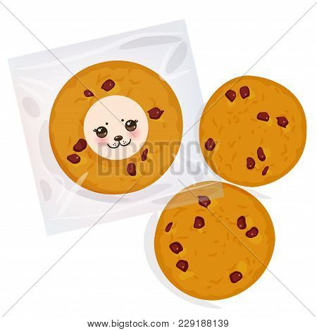 Hand Made Chocolate Chip Cookie, Freshly Baked Four Cookies In Transparent Plastic Package Isolated
