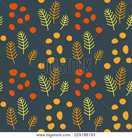 Floral Pattern For Surface Design In Traditional Folk Style, Hyggy
