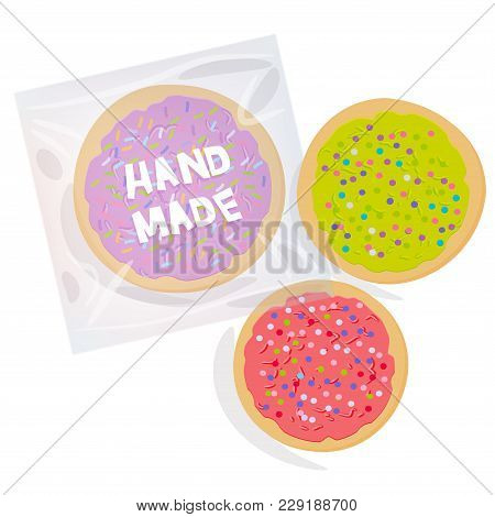 Hand Made Frosted Sugar Cookies, Set Freshly Baked Sugar Cookies  In Transparent Plastic Package Wit