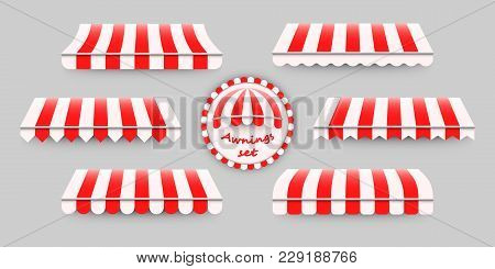 Striped, Red And White Awnings Set. Vector Illustration Of Six Different Awning Templates, Good Desi