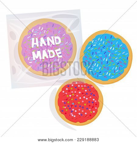 Hand Made Frosted Sugar Cookies, Set Italian Freshly Baked Cookies  In Transparent Plastic Package W