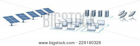 Energy And Satellite Network. 3d Rendering White Isolated