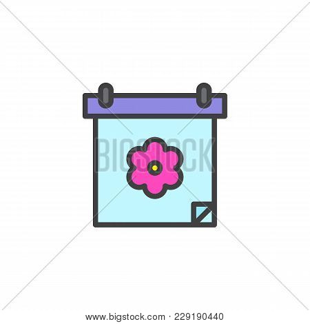 Calendar With Flower Filled Outline Icon, Line Vector Sign, Linear Colorful Pictogram Isolated On Wh