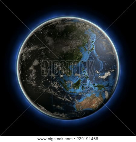 Australia And Oceania. Earth Map From Nasa 3d Rendering