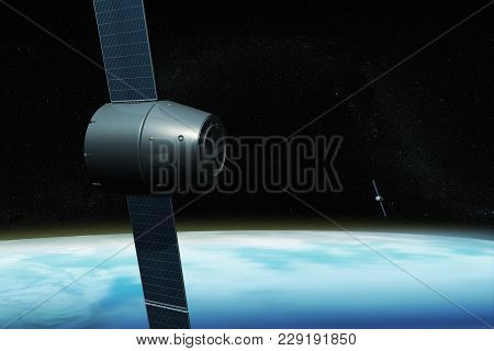 3d Rendering Of A Satellite System For Gps Orbiting The Earth