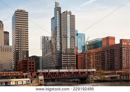 Train Over The Chicago River On Lake Street, Chicago, Illinois, Usa
