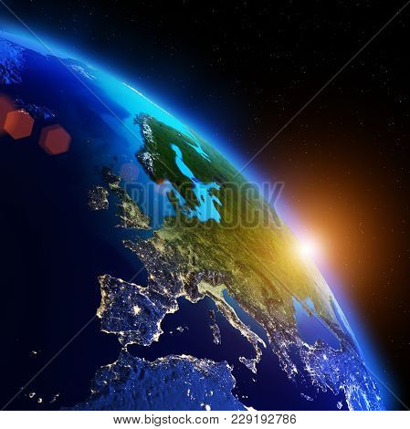 World Geography. Elements Of This Image Furnished By Nasa 3d Rendering