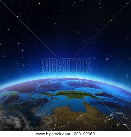 North Australia And Oceania. Elements Of This Image Furnished By Nasa 3d Rendering