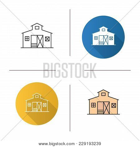 Barn Icon. Flat Design, Linear And Color Styles. Ranch. Agriculture. Isolated Vector Illustrations