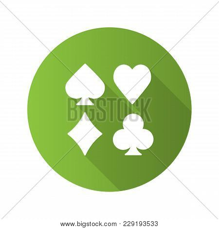 Suits Of Playing Cards Flat Design Long Shadow Glyph Icon. Spade, Clubs, Heart, Diamond. Casino. Vec