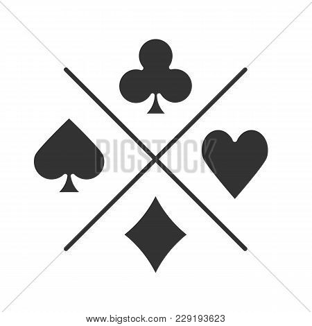Suits Of Playing Cards Glyph Icon. Casino Silhouette Symbol. Spade, Clubs, Heart, Diamond. Negative