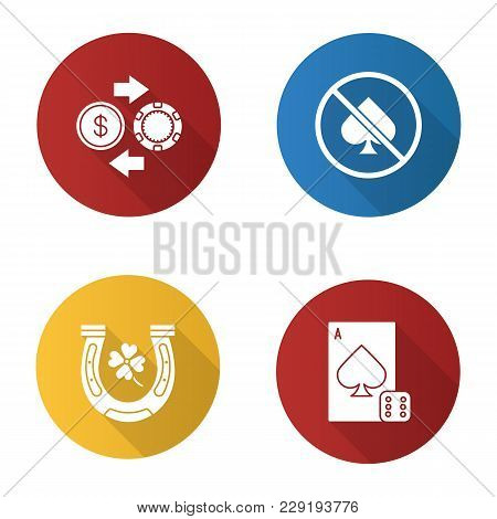 Casino Flat Design Long Shadow Glyph Icons Set. Horseshoe, Four Leaf Clover, Casino Chips And Real M