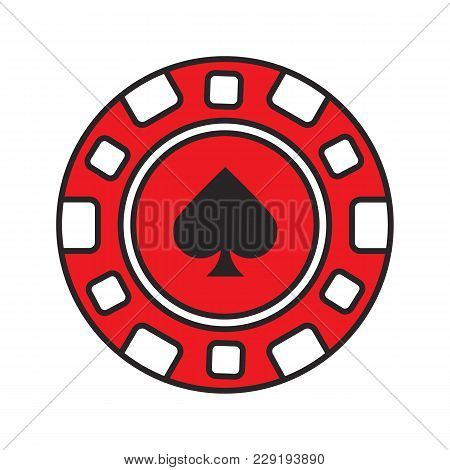 Casino Chip Color Icon. Gambling Token With Spade Sign. Casino. Isolated Vector Illustration