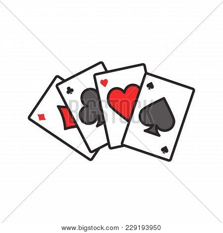 Four Aces Color Icon. Playing Cards. Poker. Kare. Isolated Vector Illustration
