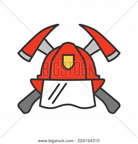 Firefighters Maltese Cross Color Icon. Protection Helmet And Crossed Axes. Fire Department Emblem. I