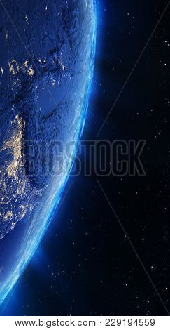 Tibet City Lights. Elements Of This Image Furnished By Nasa 3d Rendering