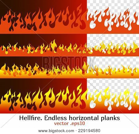 Hellfire Endless Horizontal Planks. Red Fire Bars, Old School Flame Elements For The Endless Border,