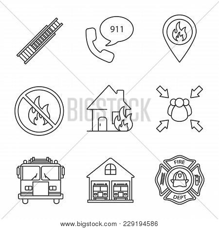 Firefighting Linear Icons Set. Double Extension Ladder, Emergency Call, Burning House, Assembly Poin