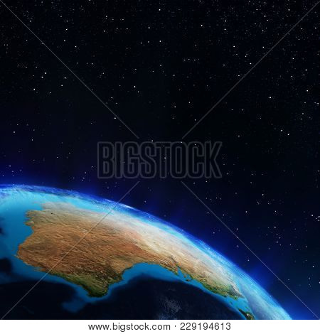 Australia. Elements Of This Image Furnished By Nasa 3d Rendering