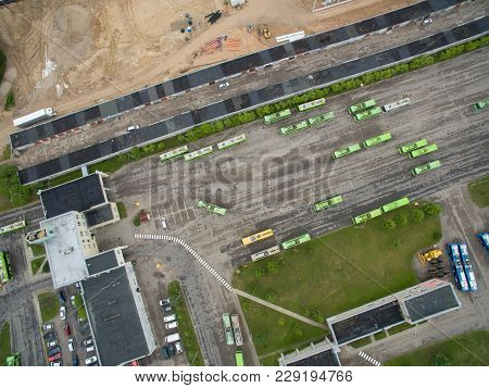 A Lot Of Green Trolley From Above. Aerial View Of Bus Deport In Kaunas, Lithuania