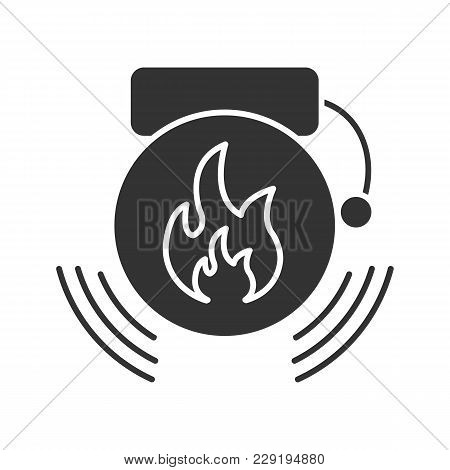 Fire Alarm Glyph Icon. Alert. Silhouette Symbol. Negative Space. Vector Isolated Illustration