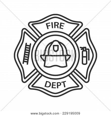 Fire Department Badge Linear Icon. Firefighting Emblem With Helmet, Ladder And Extinguisher. Thin Li