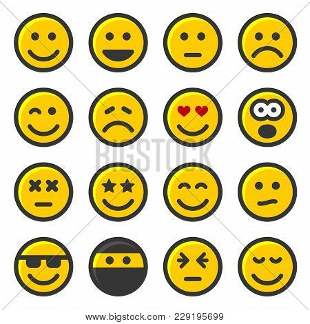 Yellow Smile Icons Set On White Background. Vector Illustration