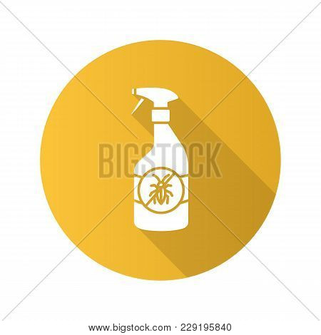 Insects Repellent Flat Design Long Shadow Glyph Icon. Anti-cockroach Spray. Vector Silhouette Illust