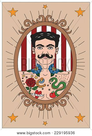 Vintage Circus Illustrations Collection. Flash Tattoo. Circus Perfomers. Tattooed Man