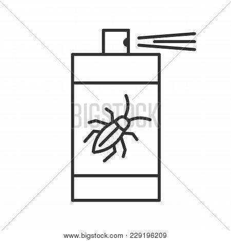 Roaches Bait Linear Icon. Cockroach Repellent Spray. Thin Line Illustration. Pest Control. Contour S