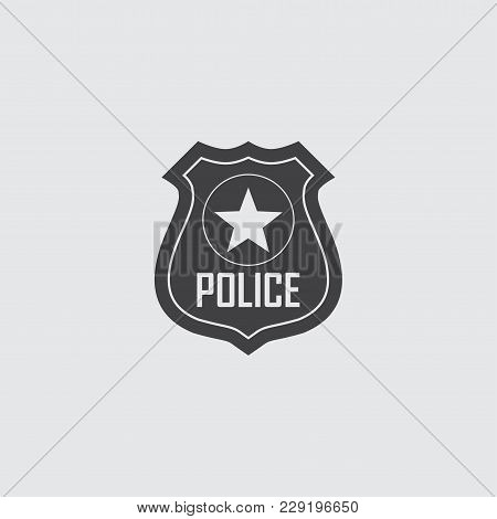 Police Badge Vector Icon Illustration Isolated On Black Background.
