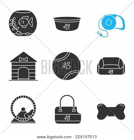 Pets Supplies Glyph Icons Set. Aquarium, Dog Bowl, Pets Lead, Toy Ball, Doghouse, Animal Bed, Chew B