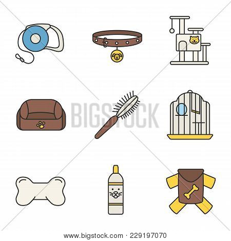 Pets Supplies Color Icons Set. Pets Lead, Dog Collar, Cat House, Animal Bed, Fur Brush, Birdcage, Ch