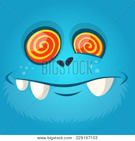 Funny Hypnotized Cartoon Monster Face. Vector Halloween Blue Scary Monster Illustration