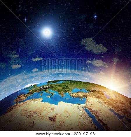 Europe From Space. Elements Of This Image Furnished By Nasa 3d Rendering