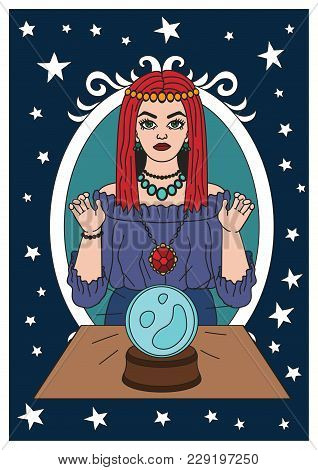 Vintage Circus Illustrations Collection. Flash Tattoo. Circus Perfomer. Psychic, Fortune Teller. Mag