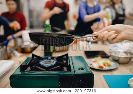 Cheese Is Fried On Cast-iron Frying Pan, Fried Cheese, Preparation Of Snacks