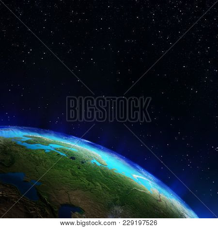Russia. Elements Of This Image Furnished By Nasa 3d Rendering
