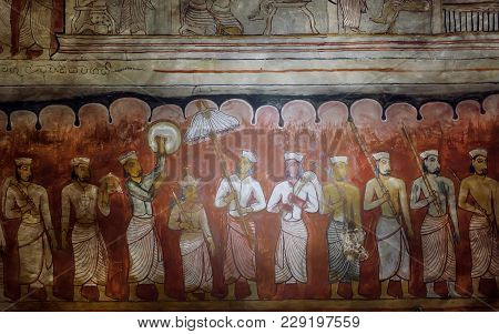 Dambulla, Sri Lanka - Jan 8, 2018: Life Of Royal Person And His Servants On Ancient Fresco Of 1st Ce