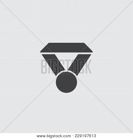 Medal Icon In Trendy Flat Style Isolated On Grey Background. Medal Symbol For Your Web Site Design.