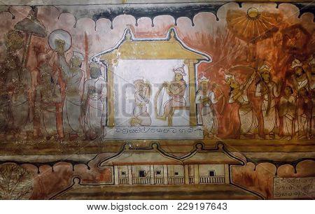 Dambulla, Sri Lanka - Jan 8, 2018: Colorful Life Of Royal Person And The Servants On Ancient Fresco