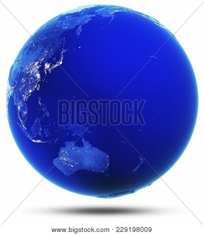 Oceania And Australia Modified Reflected 3d Rendering. Elements Of This Image Furnished By Nasa
