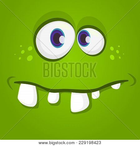 Happy Cool Cartoon Monster Face. Vector Halloween Green Zombie Or Monster Character