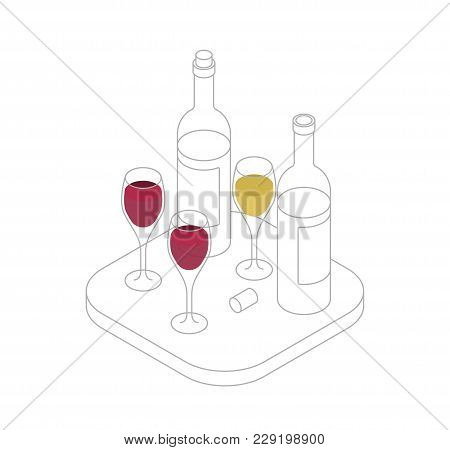 Wine Tasting Isometric Line Vector Illustration. Wine Shop Or Degustation Concept. Presentation Of A