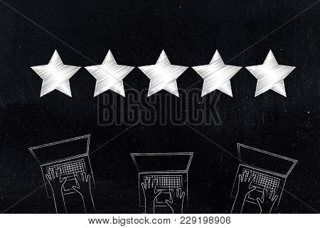 Marketing And Online Feedback Conceptual Illustration: Laptop Users And Star Rating Above It